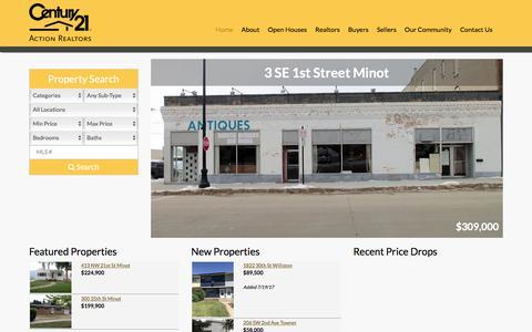 Screenshot of Home Page minotsells.com - www.minotsells.com : CENTURY 21 Action Realtors of Minot - captured July 21, 2017