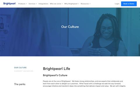Screenshot of Jobs Page brightpearl.com - Careers - Our Culture - Brightpearl - captured June 6, 2019