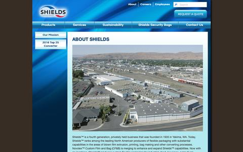 Screenshot of About Page shieldsbag.com - About Shields - captured Oct. 18, 2018