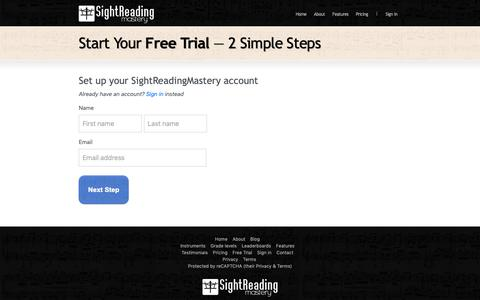 Screenshot of Trial Page sightreadingmastery.com - Free Trial | SightReadingMastery - captured Nov. 17, 2018