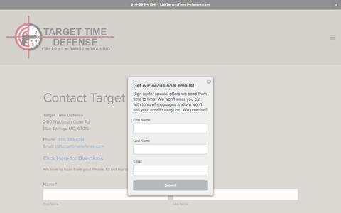 Screenshot of Contact Page targettimedefense.com - Contact Target Time Defense Firearms - Shooting Range - captured Dec. 12, 2016