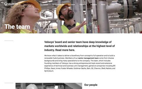 Screenshot of Team Page velocys.com - The team | Velocys - captured Sept. 21, 2018