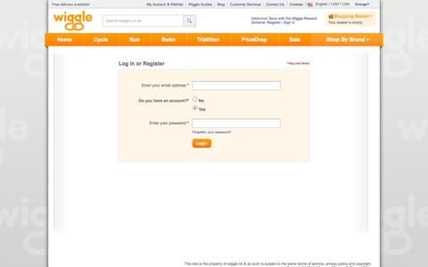Screenshot of Login Page wiggle.co.uk - Wiggle Customer Services - captured Sept. 18, 2014