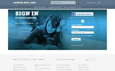 Screenshot of Login Page campusexplorer.com - College Search and Planning Guide - Campus Explorer - captured July 19, 2014