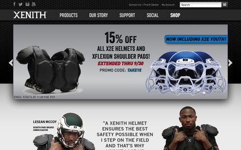Screenshot of Home Page xenith.com - Football Helmets, Shoulder Pads, Facemasks & more | Xenith - captured Sept. 17, 2014