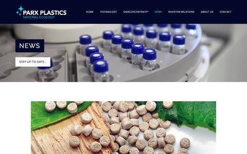 Screenshot of Press Page parxplastics.com - News - Parx Plastics N.V.  |  MLPRX - captured July 16, 2018