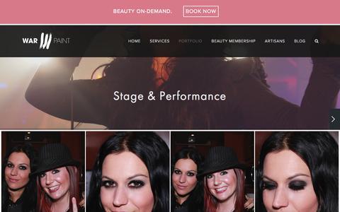 Screenshot of warpaintinternational.com - STAGE & PERFORMANCE — Warpaint International Beauty Agency - captured April 7, 2016