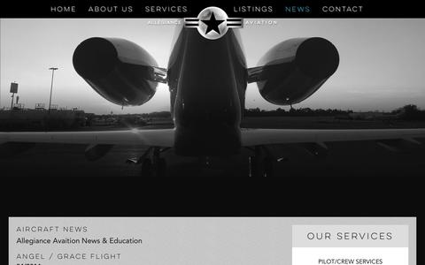 Screenshot of Press Page allegianceaviation.com - Aircraft News | Allegiance Aviation - captured Dec. 24, 2015
