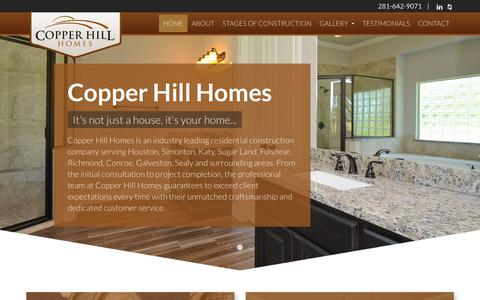 Screenshot of Home Page copperhillhomes.us - Residential Construction Contractor | Simonton, TX : Copper Hill Homes - captured July 22, 2018