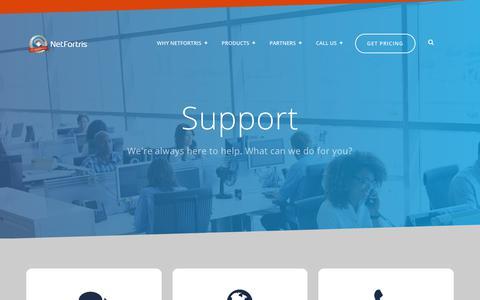Screenshot of Support Page netfortris.com - NetFortris Support - captured Aug. 17, 2019