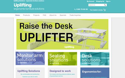 Screenshot of Products Page uplifting.com.au - Uplifting Solutions - ergonomic furniture solutions - captured Oct. 18, 2018