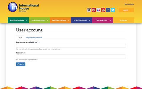 Screenshot of Login Page ihbristol.com - User account | International House Bristol - captured June 22, 2017