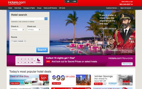Screenshot of Home Page hotels.com - Hotels.com | Cheap Hotels, Discounts, Hotel Deals and Offers - captured Dec. 2, 2015
