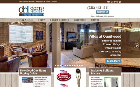 Screenshot of Home Page dornhomes.com - New Homes in Prescott - Dorn Homes - captured Feb. 9, 2016