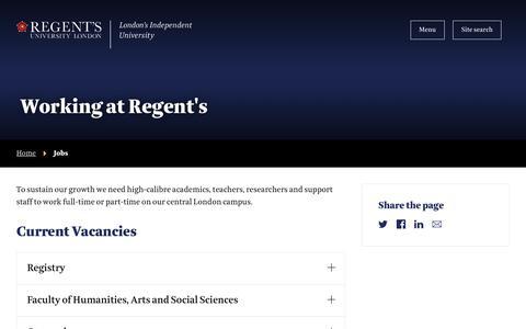 Screenshot of Jobs Page regents.ac.uk - Jobs | Regent's University London - captured Jan. 25, 2019