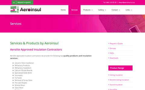 Screenshot of Services Page aeroinsul.co.za - Services – Aeroinsul - captured Oct. 22, 2018