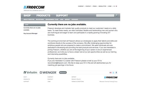 Screenshot of Jobs Page freecom.com - Freecom - Jobs - Company - captured Sept. 23, 2014