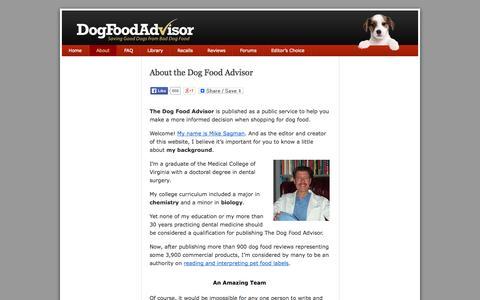 Screenshot of About Page dogfoodadvisor.com - About the Dog Food Advisor - captured Sept. 18, 2014