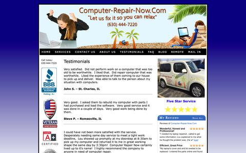 Screenshot of Testimonials Page computer-repair-now.com - Customer Testimonials from Computer-Repair-Now.Com - captured Sept. 29, 2018