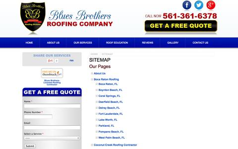 Screenshot of Site Map Page bluesbrothersroofing.com - HTML Sitemap - Boca Raton Roofing Contractor, Roofer   Blues Brothers Roofing Company - captured Oct. 5, 2014