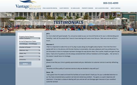 Screenshot of Testimonials Page vantageoceancity.com - Ocean City Reviews & Guest Testimonials | Vantage Resort Realty - captured Oct. 26, 2014
