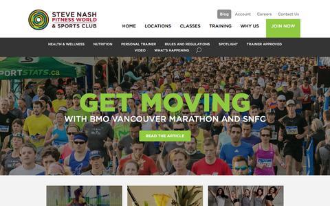 Screenshot of Blog snclubs.com - Blog - Steve Nash Fitness World and Sports Club | Steve Nash Fitness World and Sports Club - captured Jan. 28, 2016