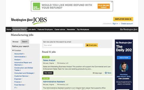 Screenshot of Jobs Page washingtonpost.com - Manufacturing jobs - captured April 7, 2017