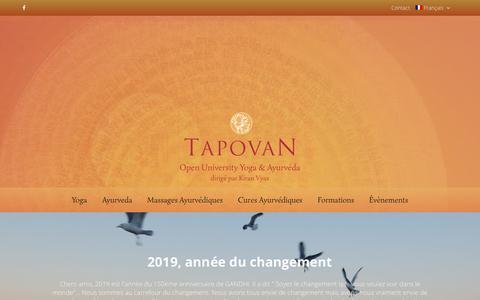 Screenshot of Home Page tapovan.com - Tapovan est le plus grand centre d ayurveda en France et en Europe. - captured March 31, 2019