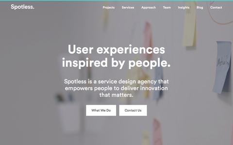 Screenshot of Home Page spotless.co.uk - Service Design & User Experience Design Agency | Spotless - captured Sept. 21, 2018
