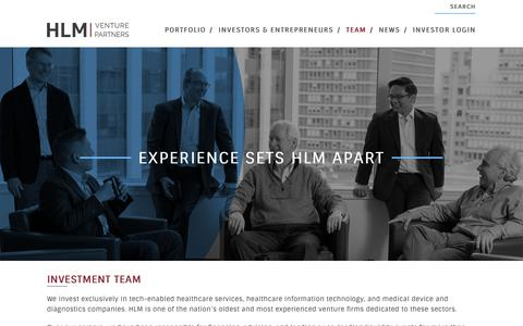 Screenshot of Team Page hlmvp.com - Team - HLM Venture Partners - captured Oct. 11, 2018
