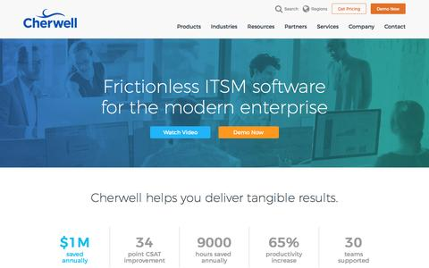 Screenshot of Home Page cherwell.com - IT Service Management (ITSM) Software | Cherwell Software™ - captured Feb. 4, 2017