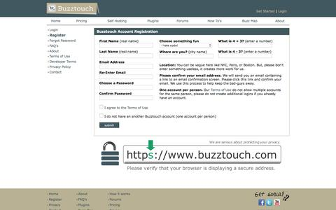 Screenshot of Signup Page buzztouch.com - Buzztouch Registration - captured Jan. 7, 2016