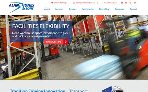 Screenshot of Home Page alanrjones.co.uk - Alan R Jones & Sons - the home of logistical transport solutions - captured Feb. 5, 2016