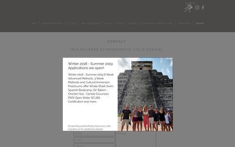 Screenshot of Contact Page anthrofieldschool.com - Isla Mujeres Ethnographic Fieldschool   CONTACT - captured Oct. 13, 2018