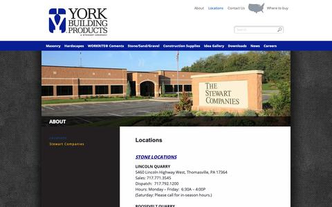 Screenshot of Locations Page yorkbuilding.com - Locations | York Building Products - captured Oct. 2, 2018