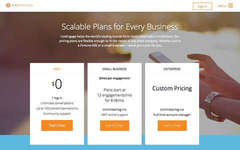 Screenshot of Pricing Page liveperson.com - Pricing   Business Messaging Solutions   LivePerson - captured Oct. 1, 2015