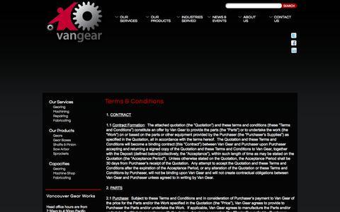 Screenshot of Terms Page vangear.com - Terms & Conditions | VanGear - captured Oct. 9, 2014