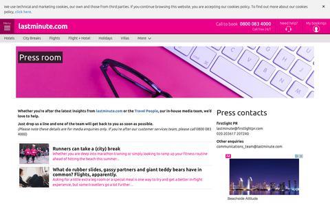 Screenshot of Press Page lastminute.com - Press Room - captured June 20, 2017