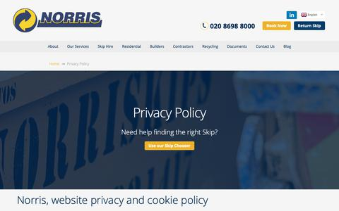 Screenshot of Privacy Page norriskips.co.uk - Privacy Policy | Norris Waste Management - captured Oct. 18, 2018