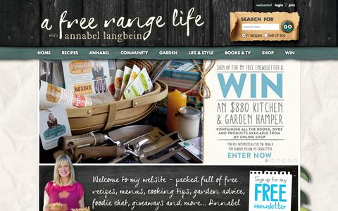 Screenshot of Home Page annabel-langbein.com - Annabel Langbein – Official website of The Free Range Cook – Cooking TV series - captured Sept. 19, 2014