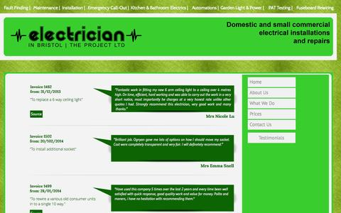 Screenshot of Testimonials Page electricianinbristol.co.uk - Feedback @ Electrician in Bristol The Project - captured Nov. 1, 2014