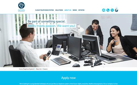 Screenshot of Jobs Page nfon.com - Be part of something special, be part of our company | NFON - captured Jan. 30, 2018