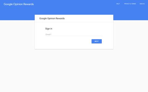 Screenshot of Login Page google.com - Google Opinion Rewards - captured July 8, 2018