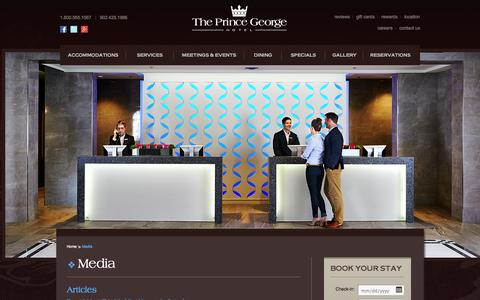 Screenshot of Press Page princegeorgehotel.com - The Prince George Hotel - Media - captured Oct. 3, 2014