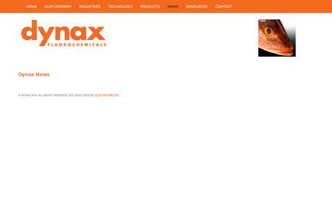 Screenshot of Press Page dynaxcorp.com - News - Dynax Fluorosurfactants - captured Oct. 19, 2018