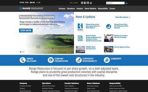 Screenshot of Home Page rangeresources.com - Range Resources - captured Nov. 5, 2015
