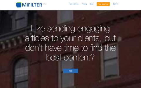 Screenshot of Home Page mifilter.com - MiFilter | Portland, Maine - captured Sept. 19, 2014