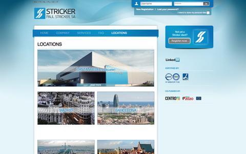 Screenshot of Locations Page stricker-europe.com - Stricker Online - captured Oct. 26, 2016