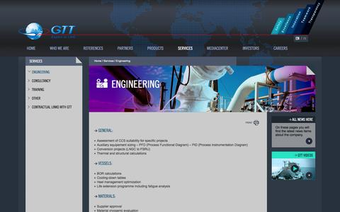Screenshot of Services Page gtt.fr - Engineering | GTT - captured Oct. 22, 2014