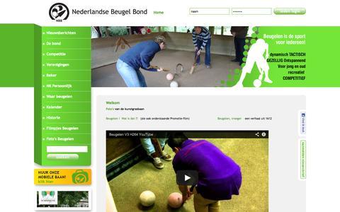 Screenshot of Home Page beugelen.nl - Nederlandse Beugel Bond Welkom - captured Oct. 6, 2014